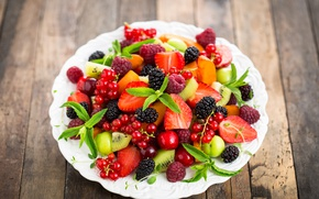 Wallpaper cherry, berries, raspberry, kiwi, strawberry, plate, fresh, currants, BlackBerry, salad, dessert, strawberries, cherries, currant, blackberries, ...