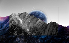Picture mountains, planet, black and white