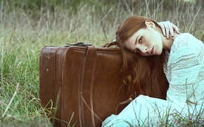 Picture grass, girl, suitcase