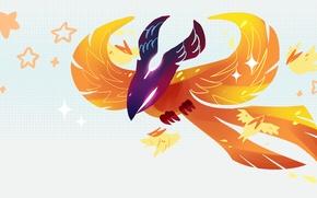 Picture bird, minimalism, stars, art, Phoenix, chibi, Dota 2, Phoenix