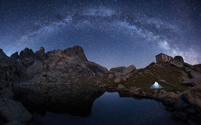 Picture stars, pond, reflection, stone, mirror, The Milky Way, secrets