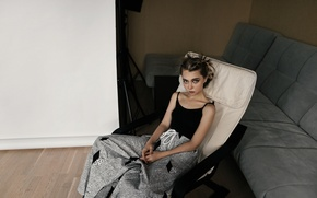 Wallpaper look, girl, sofa, sweetheart, model, portrait, surprise, chair, hairstyle, the beauty, fashion, young, pretty, beauty, ...