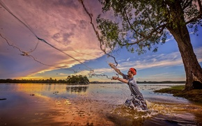 Picture sunset, river, network, fisherman
