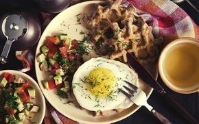Picture tea, Breakfast, scrambled eggs, vegetables, waffles, salad