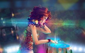 Picture music, girl, red hair, headphones, art