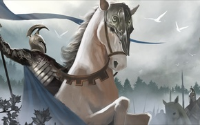 Wallpaper fog, horse, sword, army, warrior, the Lord of the rings, art, helmet, cloak, lord of ...