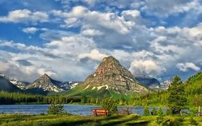 Picture clouds, mountains, lake, Glacier National Park