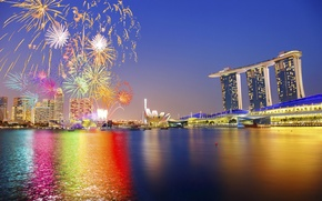 Picture the sky, night, the city, lights, holiday, backlight, Asia, Singapore, the hotel, fireworks, Singapore, fireworks
