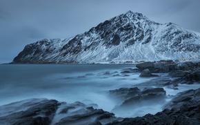 Picture mountains, shore, Norway, coast, mountains, Norway, Nordland, The Norwegian sea, Nordland, Norwegian sea, Nordland