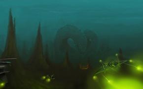 Picture monster, ships, attack, Alien world