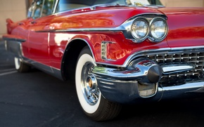 Picture machine, red, car, 1958, Cadillac Fleetwood 60 Special