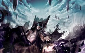 Picture clouds, stones, rocks, the demon, art, hood, guy, genki-de