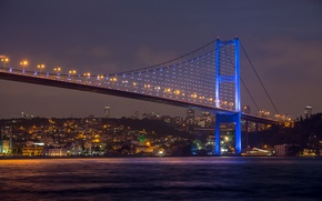 Picture city, sky, nature, Istanbul, turkey, beautiful view, Sea of Marmara, Bosphorus Bridge at night