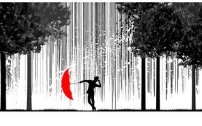 Picture trees, rain, umbrella, silhouette
