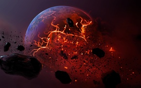 Picture meteorite, planet, dead planet, burning earth