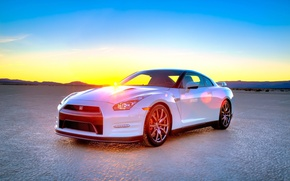 Picture white, sunset, GTR, Nissan, R35