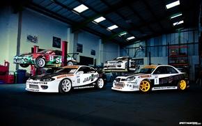 Wallpaper auto, photo, nissan, subaru, garage