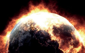 Picture the explosion, planet, disaster