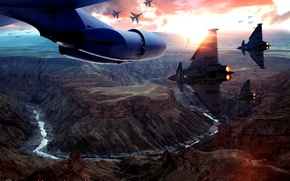 Picture the sky, sunset, the plane, war, army, aircraft, canyon, gorge, the plane, Aviation, aircraft, airplane, ...