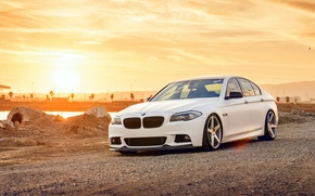Picture white, BMW, BMW, white, wheels, F10, 550i, 5 series, frontside
