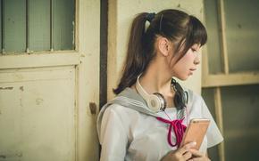 Picture girl, headphones, phone, Asian