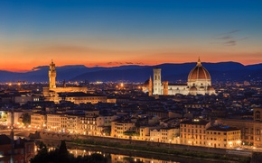 Picture the sky, sunset, orange, the city, the evening, lighting, Italy, Cathedral, Florence, architecture, Italy, Tuscany, …
