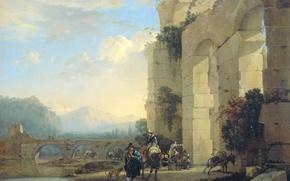 Picture landscape, picture, Yan Asselin, Riders on Donkeys in the Italian Ruins