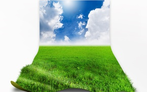 Picture the sky, grass, clouds, meadow, white background