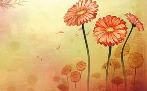 Picture flowers, gerbera, swing