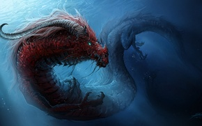 Picture water, dragon, monster, art, horns