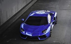 Picture blue, lamborghini, blue, the view from the top, aventador, lp700-4, Lamborghini, aventador