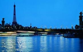 Picture water, bridge, lights, Eiffel tower, Paris, the evening, lights, France, night city, paris, france, blue …