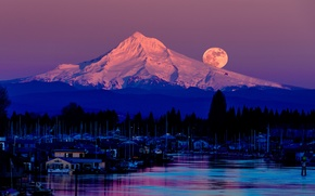 Picture mountain, Mount Hood, the village, trees, purple, Oregon, the moon, lake, the full moon, night, ...