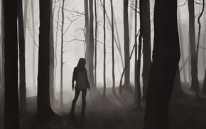 Picture forest, girl, trees, silhouette, desktopography