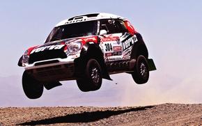 Wallpaper Mini, Sport, Speed, Race, Mini Cooper, Dakar, SUV, Rally, In the air, Mini, Side view, ...