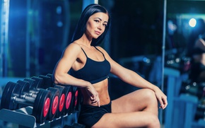 Wallpaper dumbbells, fitness model, photography section, gym, sportswear, pose