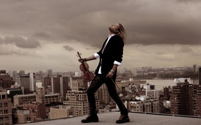 Wallpaper violinist, the wind, roof, musician, hair, david garret, David Garrett, the time, building, violin, costume