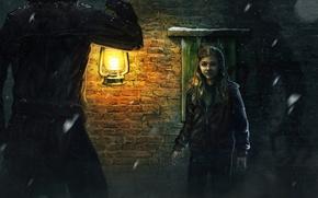 Picture girl, dark, lamp, the evening, male, cloak, Chloe, Moretz, Grace Moretz