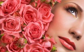 Wallpaper flowers, macro, lips, model, lipstick, roses, face