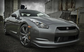 Picture grey, plant, Nissan GTR