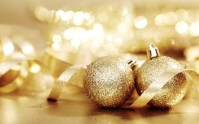 Wallpaper balls, lights, gold, mood, holiday, toys, new year, tape, bokeh
