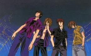Picture rain, street, skyscrapers, red, cigarette, shirt, guys, friends, art, omi tsukiyono, youji kudou, weiss kreuz, …