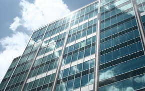 Picture glass, clouds, the building