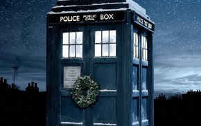 Picture winter, the sky, stars, snow, night, Christmas, booth, christmas, wreath, Doctor Who, Doctor Who, The ...
