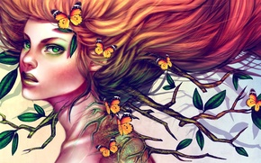 Picture look, leaves, girl, butterfly, branches, hair, art, red, green eyes