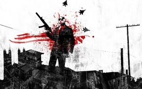 Wallpaper weapons, blood, Skull, gun, blood