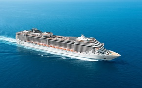 Picture Water, Sea, White, Liner, day, The ship, Calm, Passenger, On the go, MSC, Fantasia