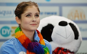 Picture figure skating, bear, beauty, athlete, Yulia Lipnitskaya, skater