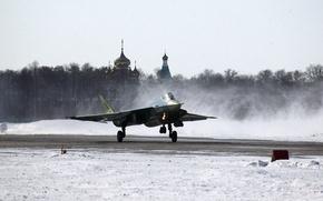 Picture Winter, Figure, The plane, Snow, Fighter, Russia, T-50, Aviation, BBC, Multipurpose, The rise, PAK FA, ...
