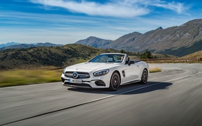 Picture road, white, Mercedes-Benz, speed, convertible, Mercedes, AMG, AMG, R231, SL-Class